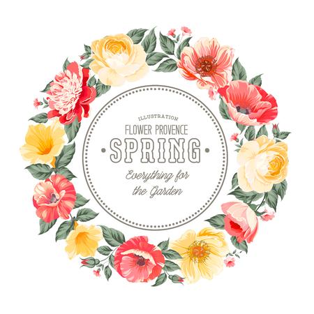 chik: Border of spring flowers in vintage style. Vector illustration.
