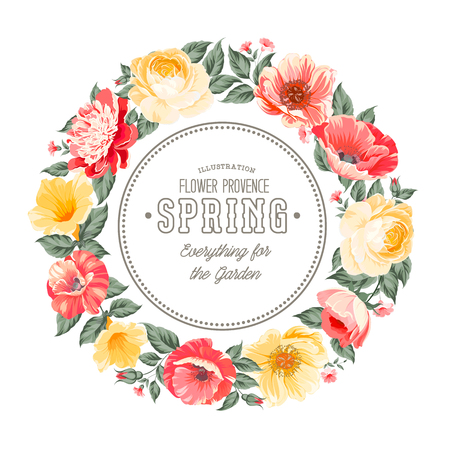 Border of spring flowers in vintage style. Vector illustration.