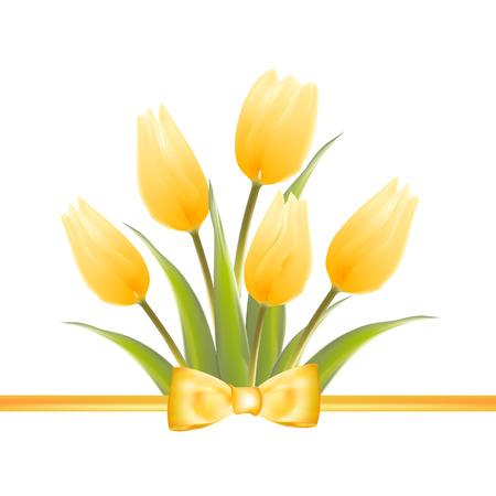 Jaune fleurs de printemps de tulipes bouquet pour votre design. Vector illustration.