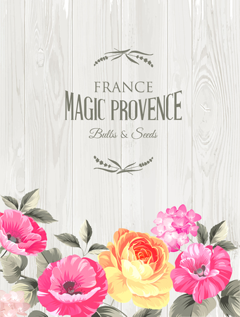 pannel: Marriage invitation card with custom sign and flower frame over wooden background. Vector illustration. Illustration