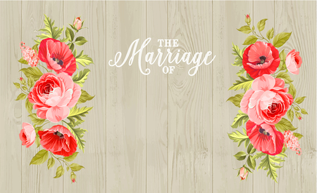 wooden: Marriage invitation card with custom sign and flower frame over wooden background. Vector illustration. Illustration