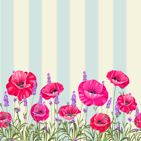 bunch of flowers: Pattern of poppy flowers over white background. Luxurious color poppy flowers background for a vintage label design. Vector illustration.