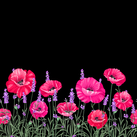 Pattern of poppy flowers over black background. Luxurious color poppy flowers. Textile for a vintage label design. Vector illustration. 일러스트