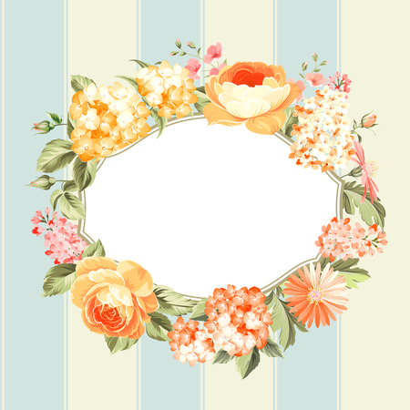 spring flower: Luxurious vintage frame of color spring flower. Best greeting label. Vector illustration.