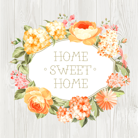 housewarming: Decorative label with flowers. Home Sweet Home. Illustration