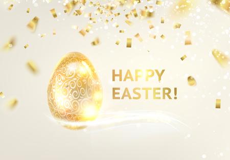 osterei: Frohes neues Jahr Karte auf grauem Hintergrund mit goldenen Funken. Vektor-Illustration.