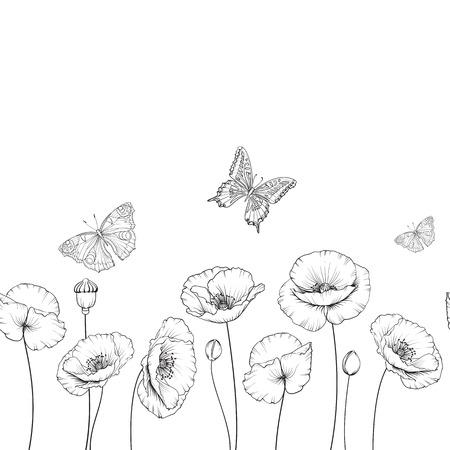 蝶と春の花の背景。黒と白の輪郭。飛んでいる蝶のカード。蝶は、白で隔離されました。