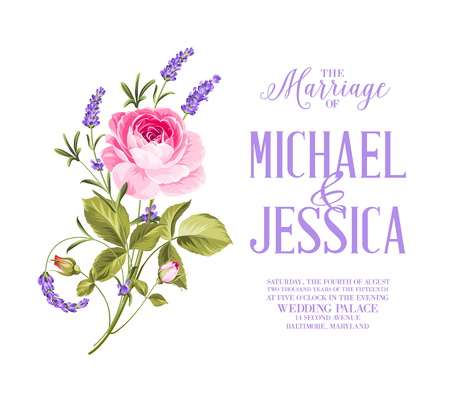 rose: Awesome vintage card of color flowers. Wedding invitation card of color flowers over white background Illustration