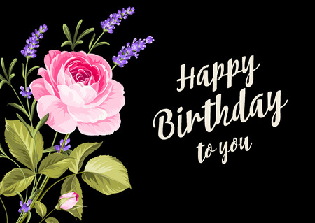 dry flowers: Happy birthday card. Greeting card with rose and lavender. Spring flowers. Floral card on the black background