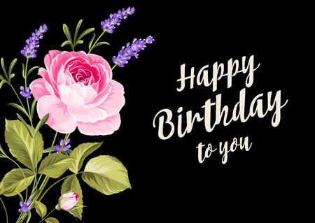 Tarjeta del feliz cumpleaños. Tarjeta de felicitación con rosa y lavanda. Flores de primavera. Tarjeta floral en el fondo negro