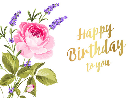 dry flowers: Happy birthday card. Greeting card with rose and lavender. Spring flowers. Floral card on the white background