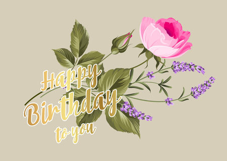 birthdays: Happy birthday card. Greeting card with rose and lavender. Spring flowers. Floral card on the gray background Illustration