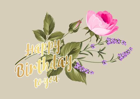 flores de cumpleaños: Tarjeta del feliz cumpleaños. Tarjeta de felicitación con rosa y lavanda. Flores de primavera. Tarjeta floral en el fondo gris
