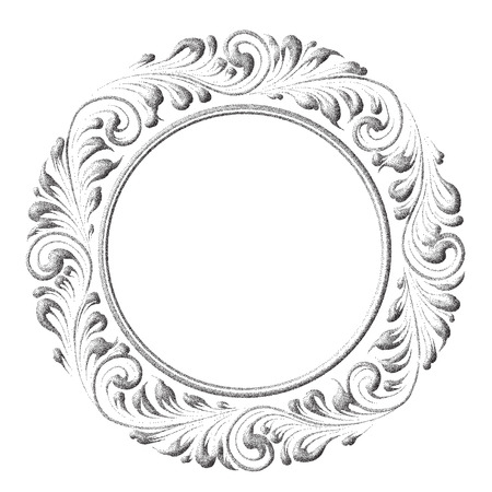 vintage ornament: Floral frame with decorative elements over white background. Round frame with decorative elements