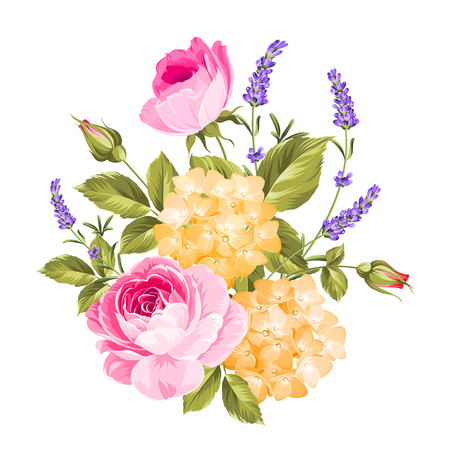 Spring flowers bouquet of color bud garland. Label with rose flowers. Vector illustration. Illustration