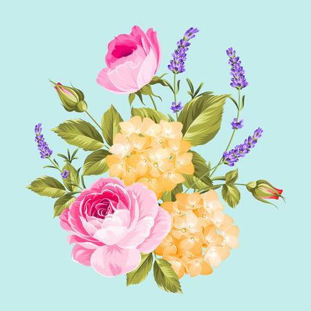 Enkele roos boeket. De lente bloeit boeket van kleur bud krans. Vector illustratie.