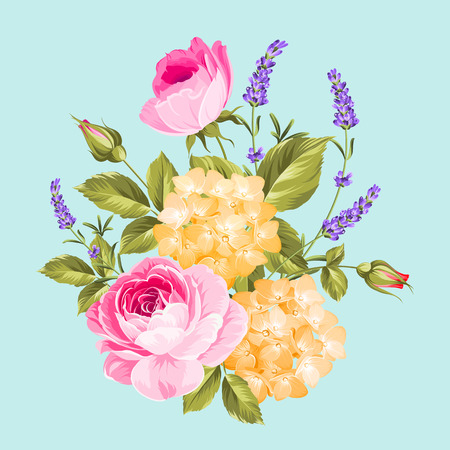flowers bouquet: Single rose bouquet. Spring flowers bouquet of color bud garland. Vector illustration. Illustration