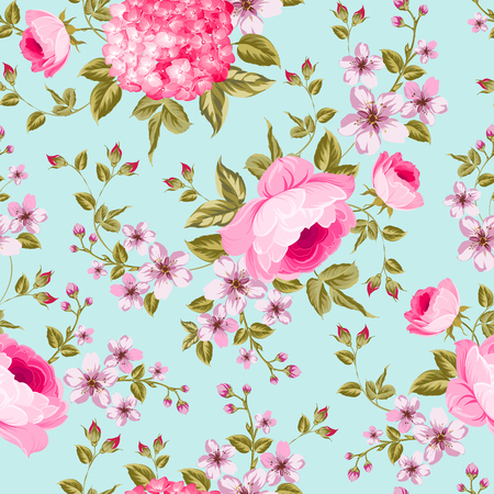 Spring flowers pattern over blue background. Label with rose flowers. Vector illustration.