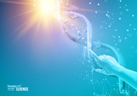 DNA と紫色の背景。DNA の分子の科学イラスト。