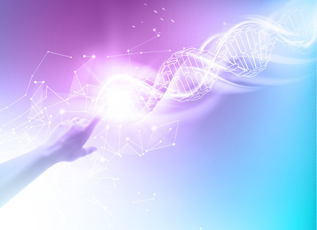 Science concept image of human hand touching DNA. DNA molecules of poligons. Biochemistry infographics design for science. Vector illustrtion. Stock Illustratie