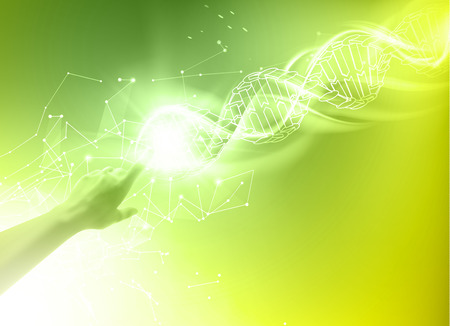 glowing skin: Science concept image of human hand touching DNA. DNA molecules of poligons. Biochemistry infographics design for science. Vector illustrtion. Illustration