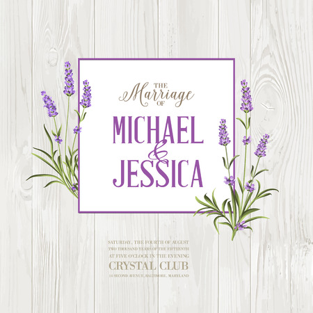 Marriage invitation card. Lavender garland over wooden wall with romantic text. Bunch of lavender flowers on a gray background