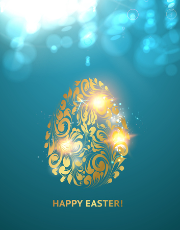 golden egg: Easter egg with spheres of bokeh. Golden egg on the blue background. Happy easter. Holiday card. Template for your design. Vector illustration.