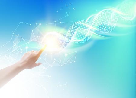 segurar: imagem do conceito da ciência da mão humana DNA tocar. moléculas de ADN de polígonos. infográficos Bioquímica projeto para a ciência. illustrtion vetor.