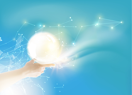 pearly: Bright light ball over human hand on color background. White pearl. Vector illustration, contains transparencies, gradients and effects. Illustration