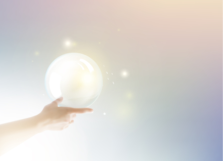 pearl: Bright light ball over human hand on color background. White pearl. Vector illustration, contains transparencies, gradients and effects. Illustration