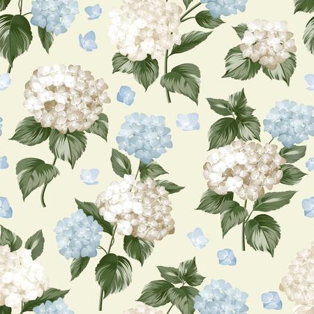Blaue Blume Hortensie auf nahtlose Hintergrund. Mop Kopf Hydrangea Blumenmuster. Schöne Sommerblumen auf den weißen. Vektor-Illustration.