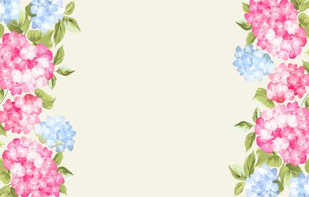 Guirlande de fleurs d'oranger hortensia sur fond gris. Illustration de fleurs. art vintage. Peut être utilisé pour la carte d'invitation. Fleurs pourpres. Vector illustration.
