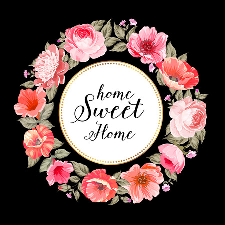 pink and black: Home sweet home. Flower garland for invitation card. Invitation card template with blooming flowers and custom text isolated over black. Pink flowers on the black background. Vector illustration.