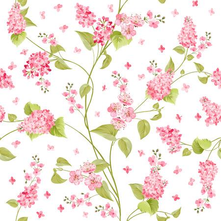 シームレスな花の生地テクスチャ パターン。明るい背景上花のシームレスなパターン。白い背景の上の紫色のアジサイの花の花のパターン。ライラ