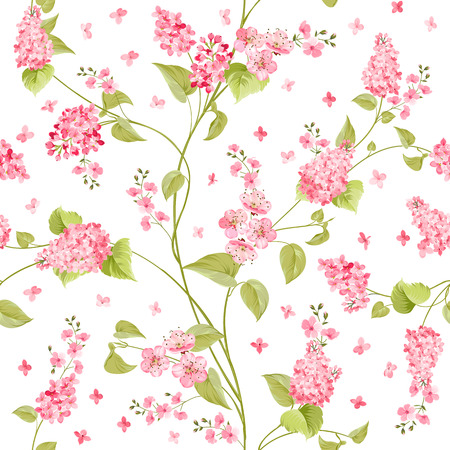 Fabric texture pattern with seamless flowers. The floral seamless pattern over light background. Flower pattern of purple hydrangea flowers over white background. Lilac flowers. Vector illustration. Vettoriali