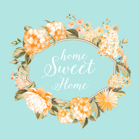 flower blooming: Home sweet home. Flower garland for invitation card. Invitation card template with blooming flowers and custom text isolated over white. Pink flowers on the white background. Vector illustration. Illustration