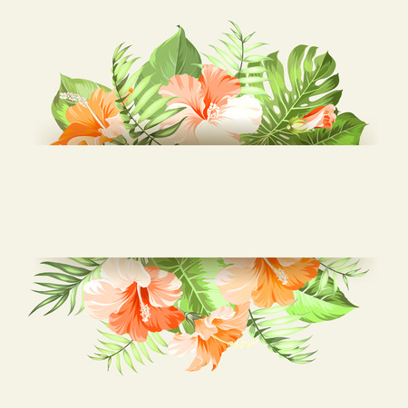 isolated over white: Tropical flower garland isolated over white background.