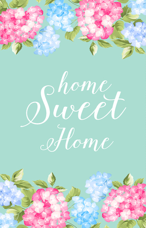 provence: Awesome blue vintage label of color flowers. Home sweet home. Provence flowers.  Vector illustration.