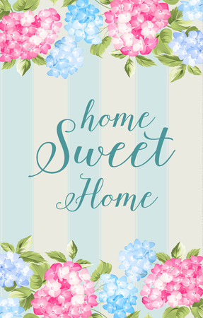 homes: Awesome blue vintage label of color flowers. Home sweet home. Provence flowers.  Vector illustration.