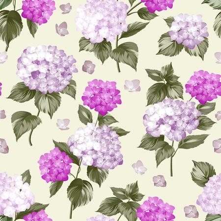 violet flower: Violet flower hydrangea on gray background. Mop head hydrangea flower pattern. Beautiful summer flowers on the gray. Vector illustration.