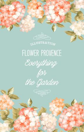 Prachtige paarse bloem van de hortensia. Kaart van het huwelijk en engagement aankondiging. Uitnodiging kaart sjabloon met paars bloeiende hortensia over blauwe achtergrond. Vector illustratie. Vector Illustratie