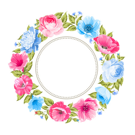 flower blooming: Flower garland for invitation card. Invitation card template with blooming flowers and custom text isolated over white. Color flowers on the blue background. Vector illustration.