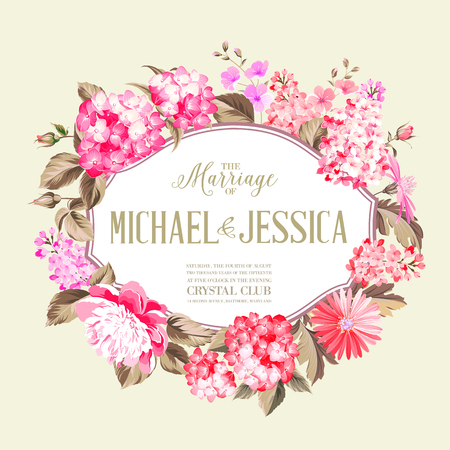 flower blooming: Flower garland for invitation card. Invitation card template with blooming flowers and wedding text.  Marriage invitation card. Michael and Jessica merriage. Vector illustration. Illustration
