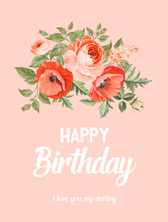 opium: Happy birthday text lettering With red poppy isolated on pink. Custom typographic composition. Vector Illustration. Illustration