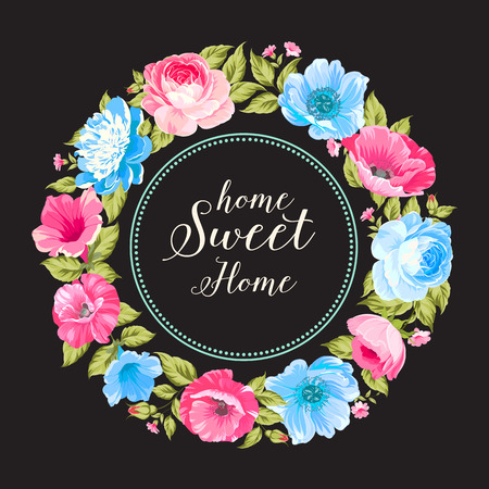 tiffany: Home sweet home for invitation card. Invitation card template with blooming flowers and custom text isolated over black. Pink summer flowers. Vector illustration.