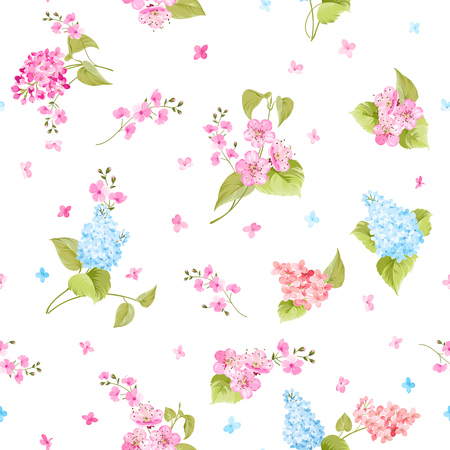 fabric samples: Seamless pattern of Syringa and Sacura flowers for fabric samples. Vector illustration.