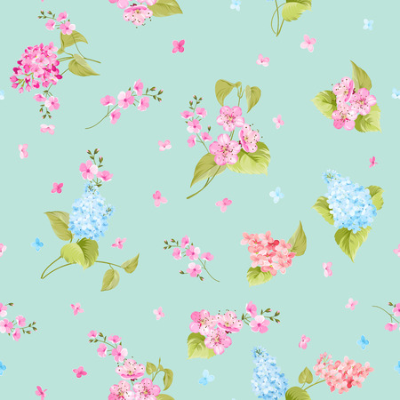 tiffany blue: Seamless flower pattern for fabric design. Seamless pattern of Syringa and Sacura flowers for fabric samples. Vector illustration. Illustration