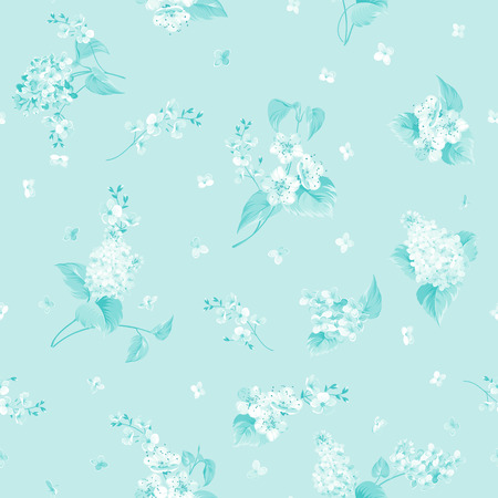 biege: Seamless flower pattern for fabric design. Seamless pattern of Syringa and Sacura flowers over blue background. Vector illustration.