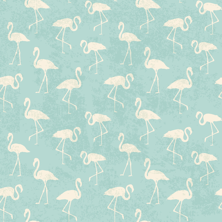 Tropical exotic seamless pattern with white flamingos birds over blue. Flamingo background design. Flamingo symbol of execution dreams. Seamless background with flamingo pattern. Vector illustration.