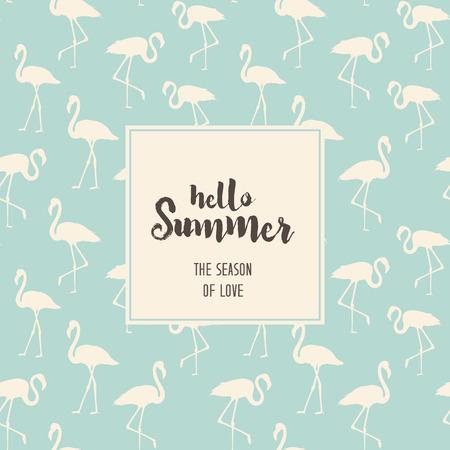 青いフラミンゴ上こんにちは夏のテキスト。ブルーに白いフラミンゴ鳥と熱帯のエキゾチックなシームレスなパターンで。フラミンゴ背景デザイン